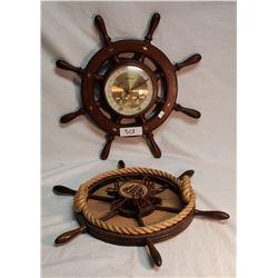 "Ship Wheel Barometer 16"" And Coaster Holder 16"""