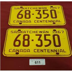 1968 Saskatchewan License Plates, Canada Centennial