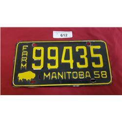 1958 Manitoba License Plate Farm
