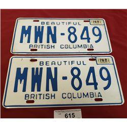 1978. BC License Plates