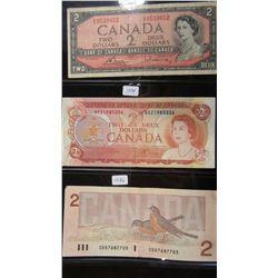 1954, 1974 & 1986 CANADA $2 BILLS
