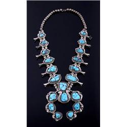 Singed Navajo Morenci Turquoise Squash Blossom