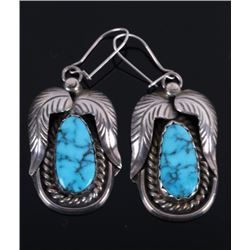 Morenci Turquoise Silver Earrings