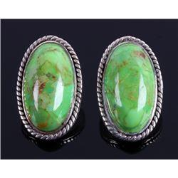 Navajo Sterling Silver Gaspeite Earrings