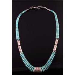 Signed Navajo TurquoiseMountain Discoidal Necklace