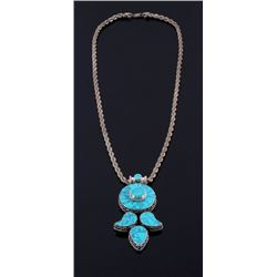 Lone Mountain Spider Web Turquoise Necklace