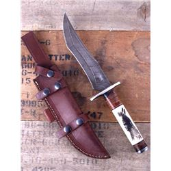 Montana Territory Knives Indian Scrimshaw Damascus
