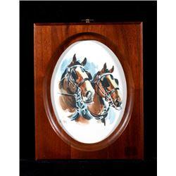 Newman Myrah Bridled Horses Watercolor