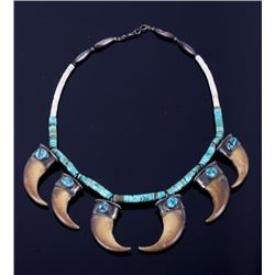Navajo Carico Lake Turquoise & Bear Claw Necklace
