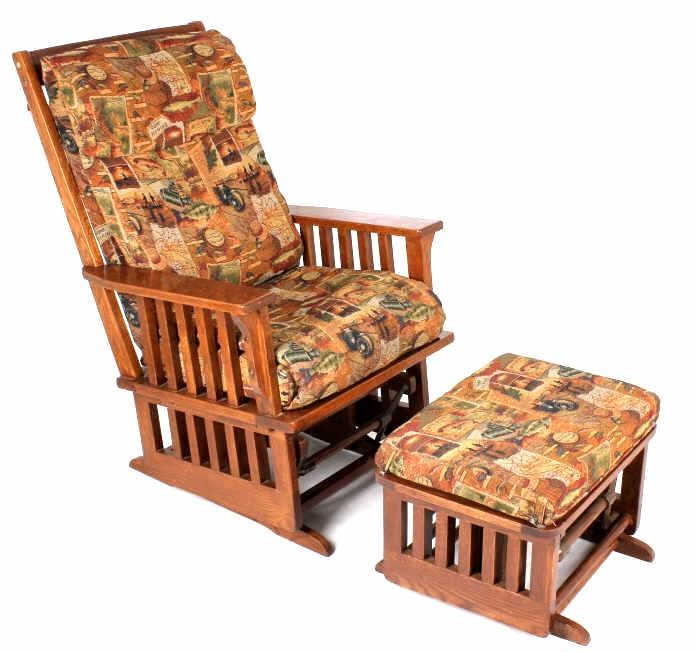 Image 1 : Towne Square Oak Glider Rocking Chair W/ Footstool ...
