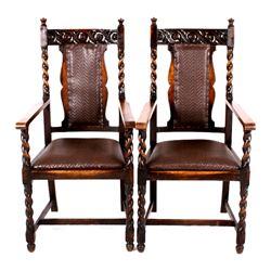 Black Forest Oak Barley Twist Dining Chairs 19th C