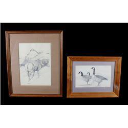 Pair of Signed Tom Sanders Graphite Drawings