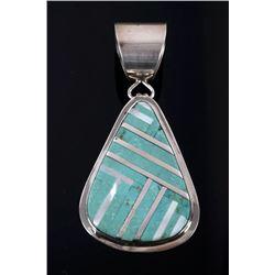 Signed Navajo Carico Lake Turquoise Pendant