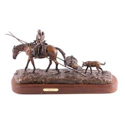 """Bob Scriver """"New Camp"""" Original Bronze Sculpture"""