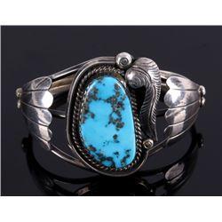 Navajo Morenci Turquoise Silver Bracelet