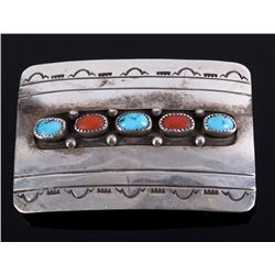 Signed Navajo Turquoise & Coral Belt Buckle