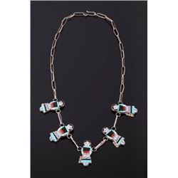 Signed Zuni Maiden Inlay Necklace