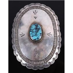 Navajo Signed Lone Mountain Turquoise Belt Buckle