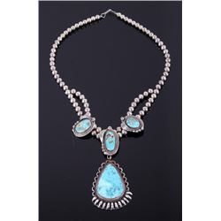 Signed Navajo Bisbee Turquoise Sterling Necklace