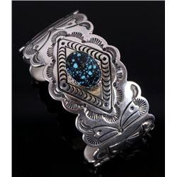 Navajo Signed Lone Mountain Turquoise Bracelet