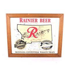 Rainier Beer & Montana Wagon Train Mirror