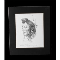 Portrait of Native American by Howard Terpning