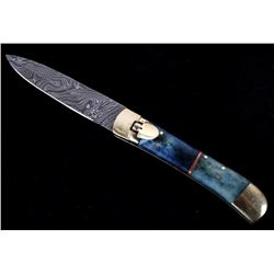 German Damascus Lever Lock Switchblade Knife