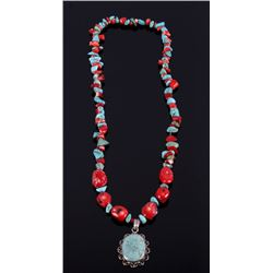 Navajo Branch Coral & Turquoise Nugget Necklace