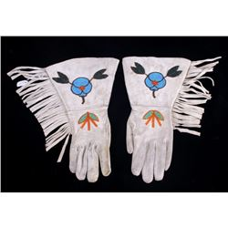 Montana Crow Floral Beaded Gauntlet Gloves 1950's