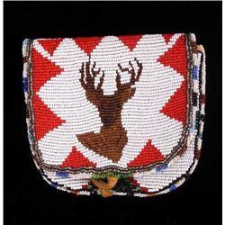 Flathead Fully Beaded Elk Pictorial Flat Bag 1940-