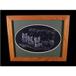 Three Kit Foxes by Mel Dobson