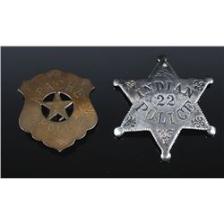 Pair of Native American Indian Police Badges