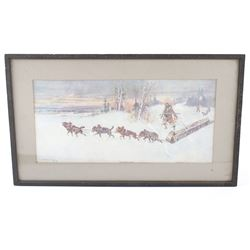 Charlie Russell 'The Winter Packet' Framed Print