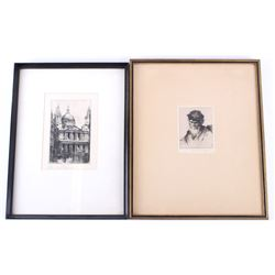 Pair of Original Framed Etchings