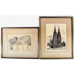 Pair of Original Framed Ink Etchings