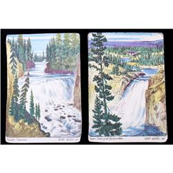 Yellowstone Waterfall Sketch Prints c. 1930's (2)