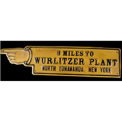 Wurlitzer Plant Directional Metal Sign