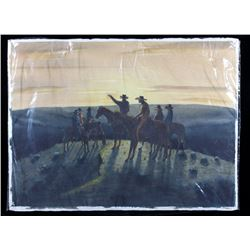 Original Walt Sundell Cowboy on Horseback Painting