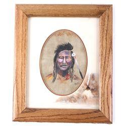 Original Native American Profile Signed by Pettit