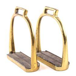 Early 20th Century US Cavalry Brass Stirrups