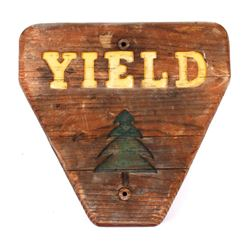 Yellowstone National Park Wooden Yield Sign