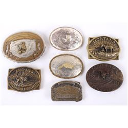 Collection of Montana Silver & Brass Belt Buckles