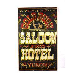 Gold Rush Saloon and Hotel Folk Art Wood Sign