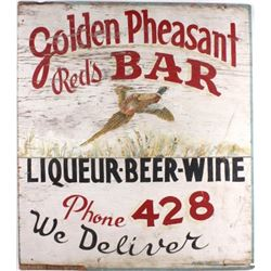Golden Pheasant Red's Bar Original Hand Paint Sign