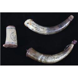Collection of Powder Horns & Horn Match Case