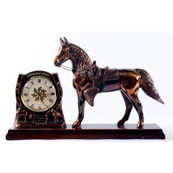 Western Horse Brass Mantle Ingraham Clock