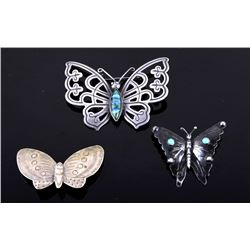 Navajo and Mexican Silver Butterfly Brooch Pins