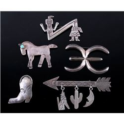 Navajo Sterling Silver Brooch Pin Collection
