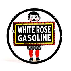 Old Style White Rose Gasoline One Sided Metal Sign