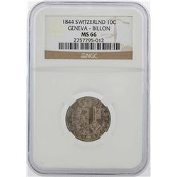 1844 Switzerland 10C Geneva Billon Coin NGC MS66